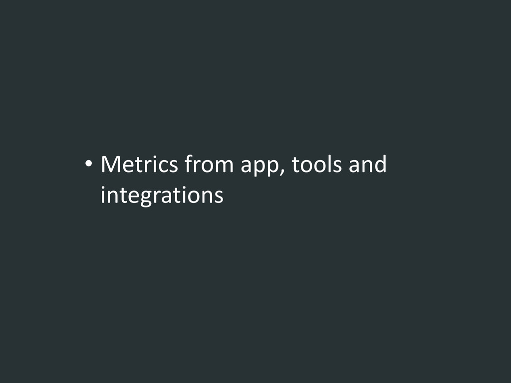 • Metrics from app, tools and integrations