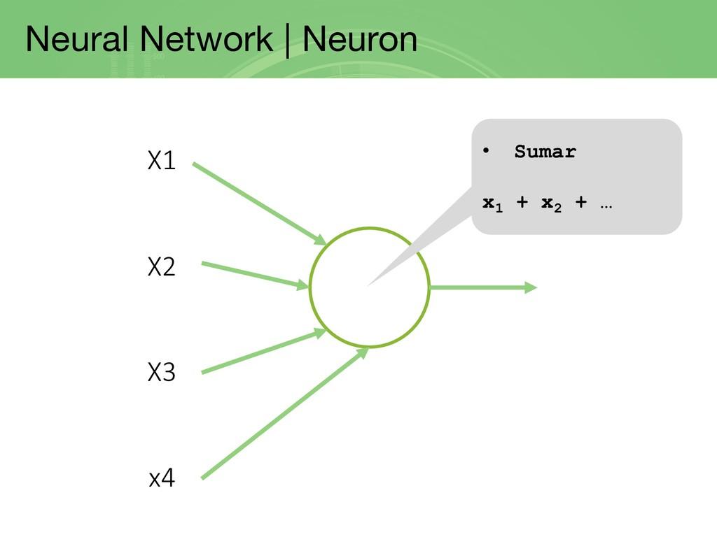 Neural Network | Neuron X1 X2 X3 x4 • Sumar x1 ...