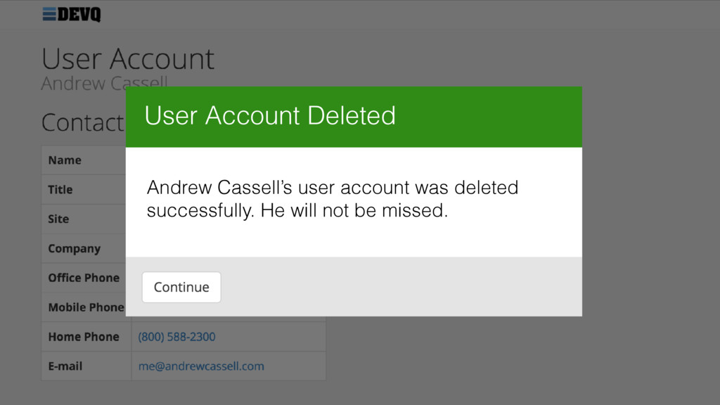 User Account Deleted Andrew Cassell's user acco...