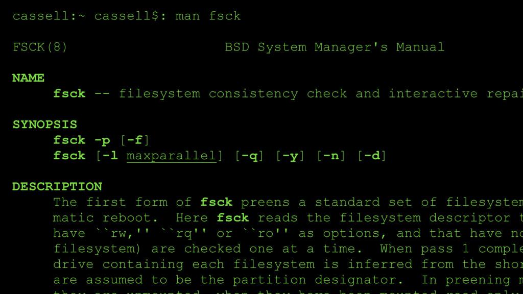 cassell:~ cassell$: man fsck FSCK(8) BSD Syste...