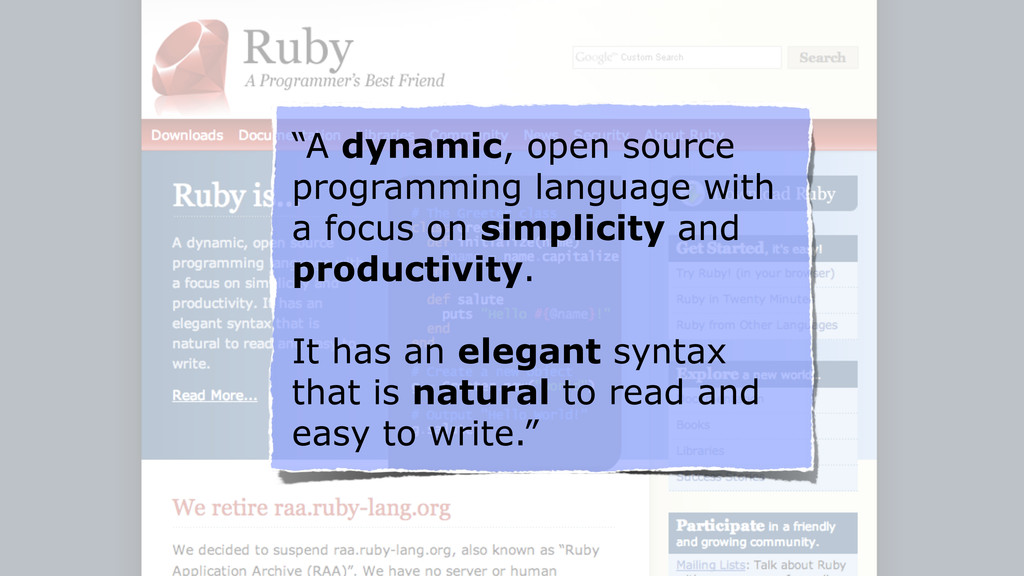 """A dynamic, open source programming language wi..."