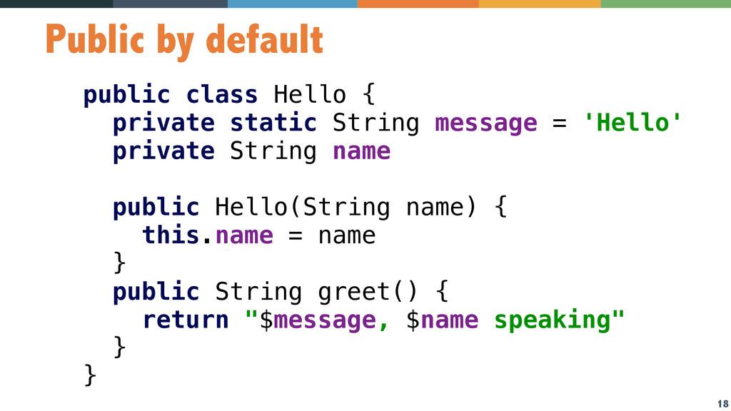 18 Public by default public class Hello { priv...