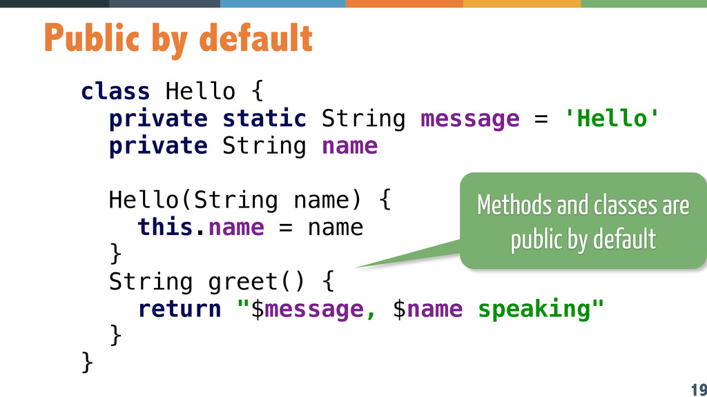 19 Public by default class Hello { private sta...