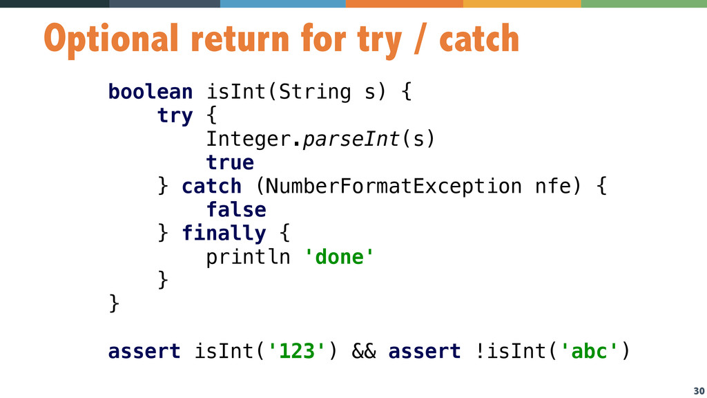 30 Optional return for try / catch boolean isIn...