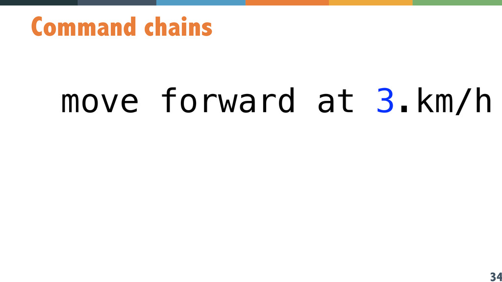 34 Command chains move forward at 3.km/h