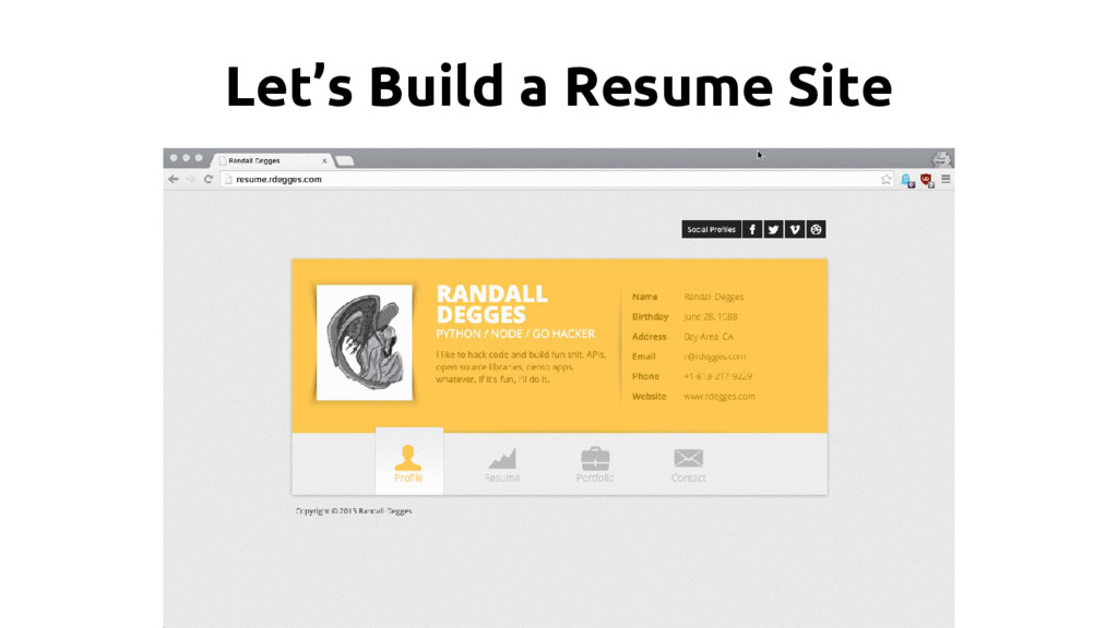 Let's Build a Resume Site