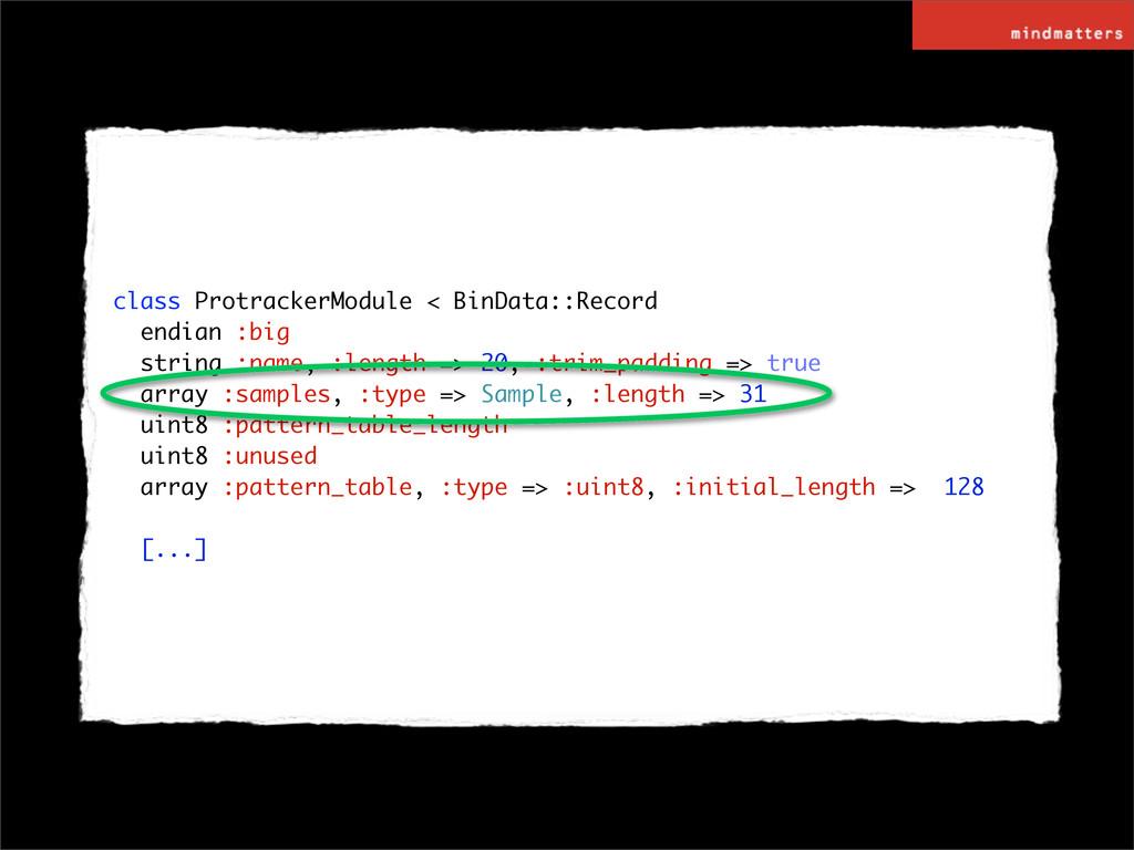 class ProtrackerModule < BinData::Record endian...
