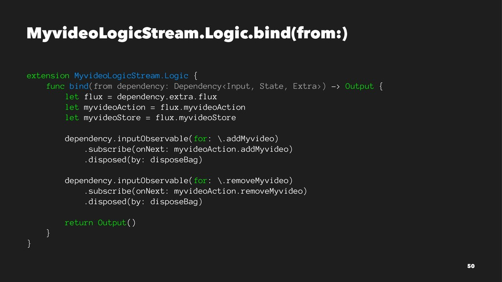MyvideoLogicStream.Logic.bind(from:) extension ...
