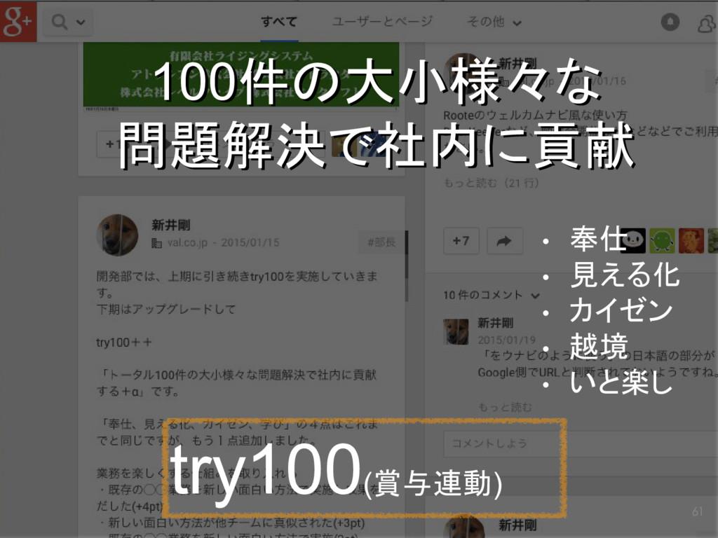 61 try100(賞与連動) 100件の大小様々な 問題解決で社内に貢献 100件の大小様々...