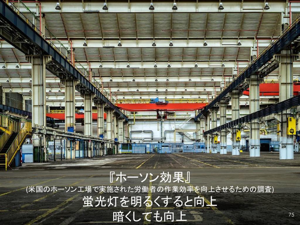 『ホーソン効果』 (米国のホーソン工場で実施された労働者の作業効率を向上させるための調査) 蛍...