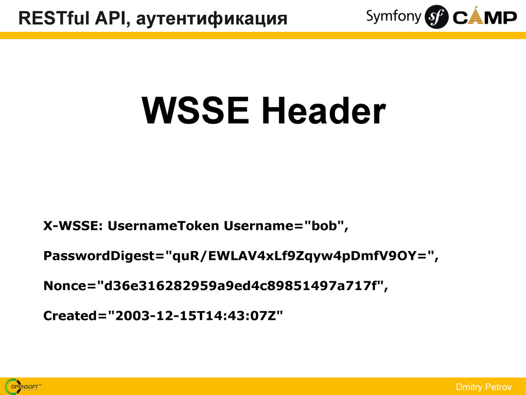 WSSE Header Dmitry Petrov X-WSSE: UsernameToken...