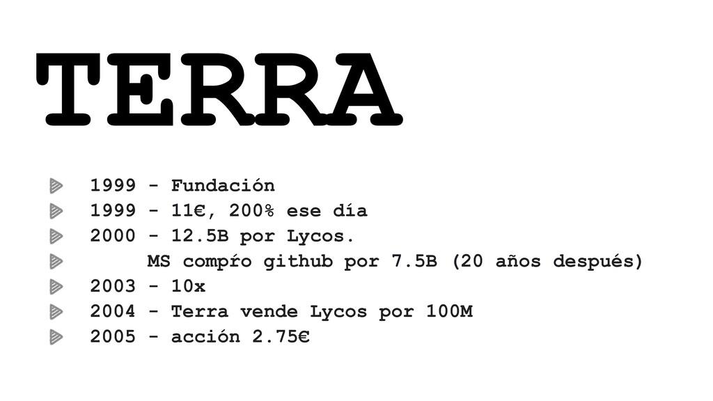 TERRA 1999 - Fundación 1999 - 11€, 200% ese día...