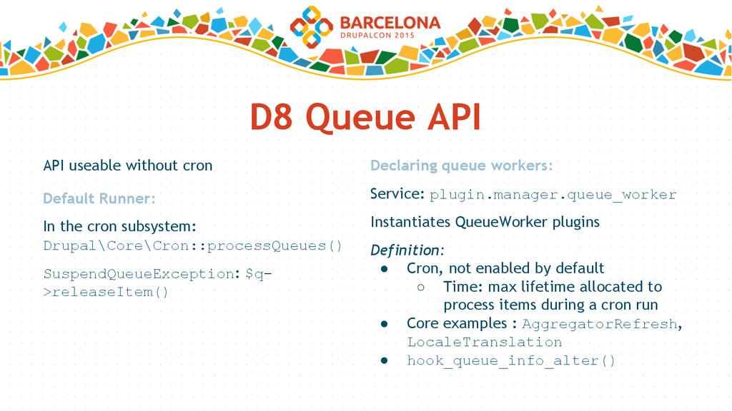 D8 Queue API API useable without cron Declaring...
