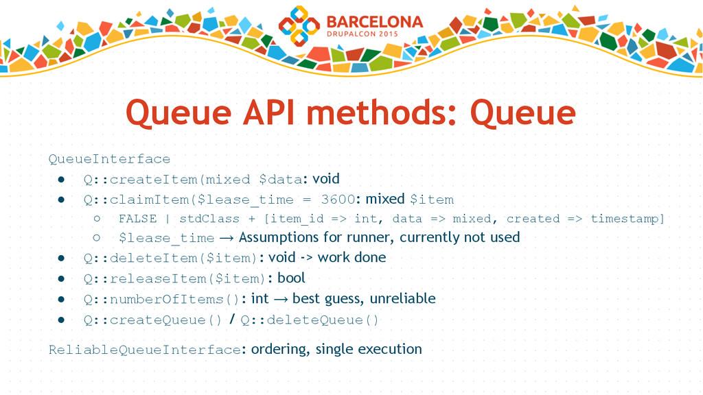 Queue API methods: Queue QueueInterface ● Q::cr...