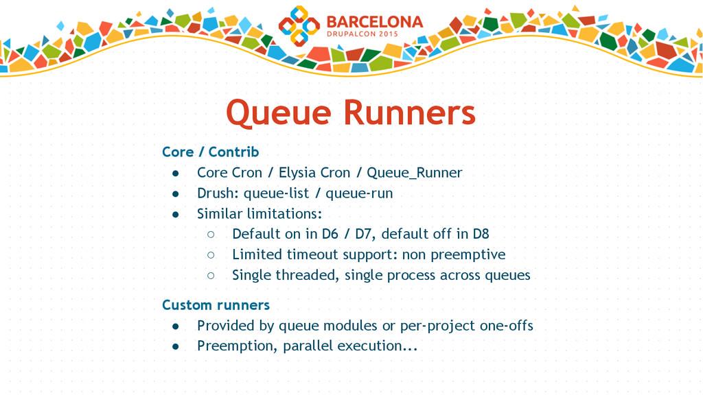 Queue Runners Core / Contrib ● Core Cron / Elys...