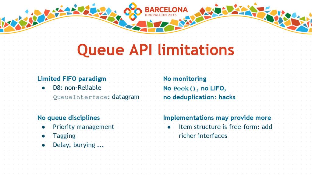 Queue API limitations Limited FIFO paradigm ● D...
