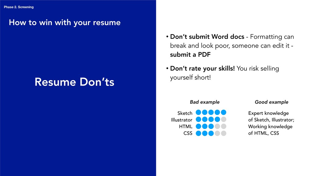 Resume Don'ts • Don't submit Word docs - Format...