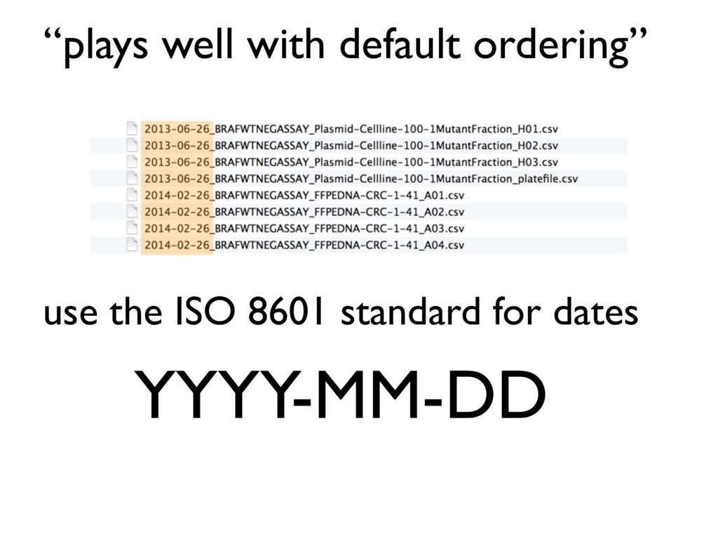 """plays well with default ordering"" use the ISO ..."