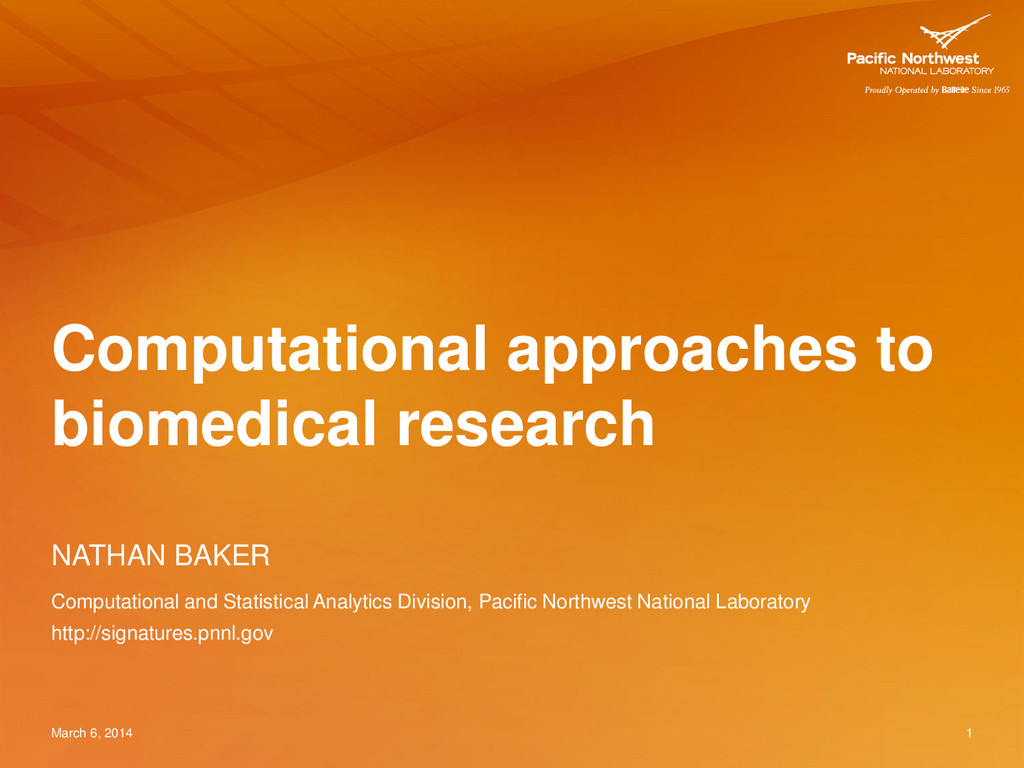 Computational approaches to biomedical research...