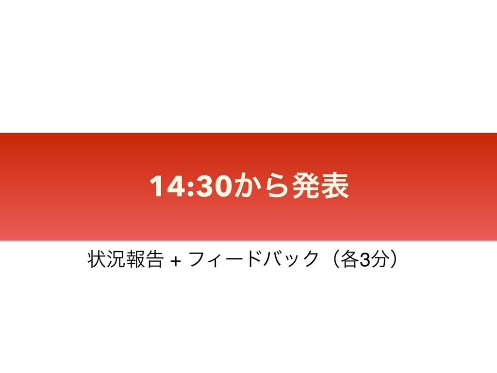 14:30͔Βൃද ঢ়گใࠂ + ϑΟʔυόοΫʢ֤3ʣ