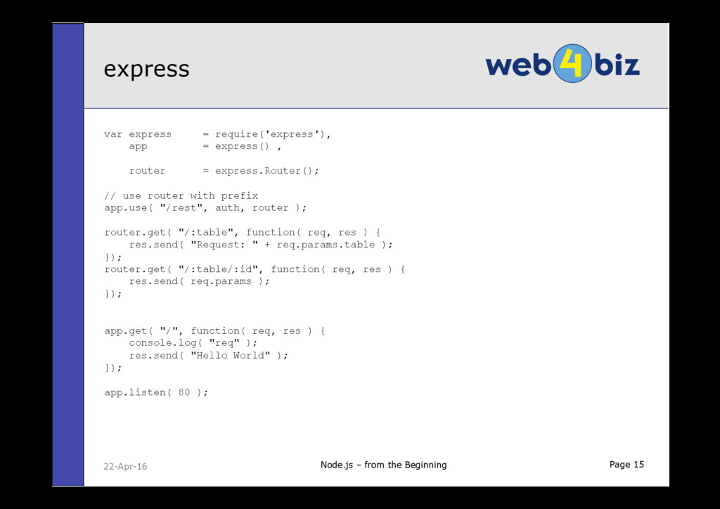 Page 15 var express = require('express'), app =...