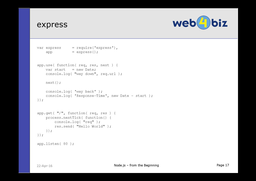 Page 17 var express = require('express'), app =...