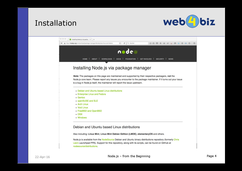 Page 4 Installation 22-Apr-16 Node.js – from th...