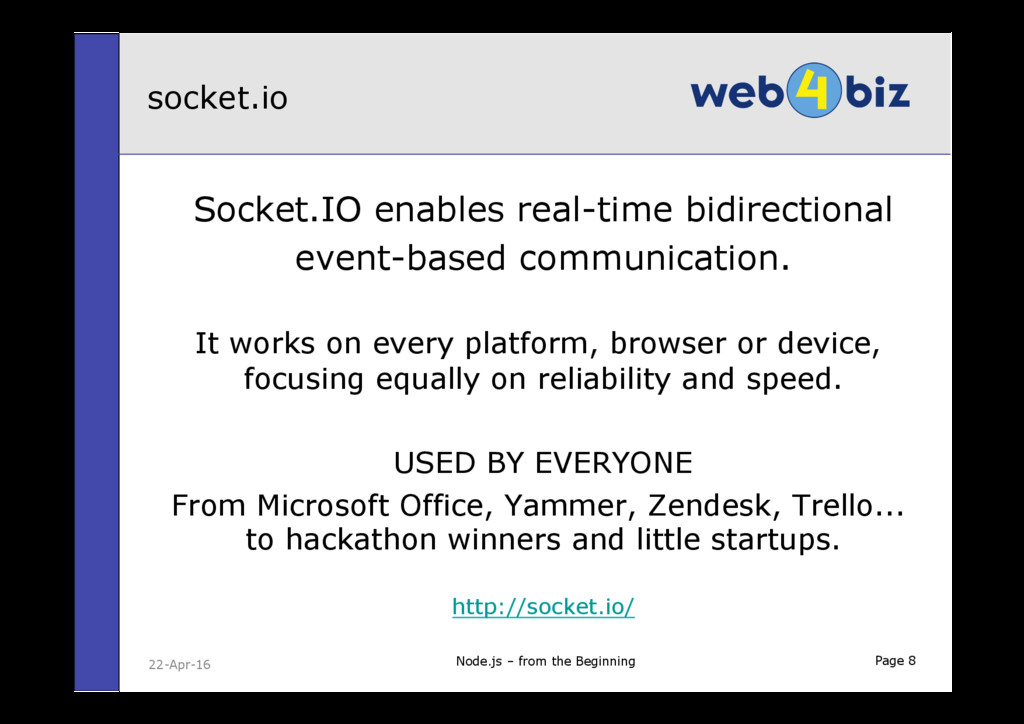 Page 8 Socket.IO enables real-time bidirectiona...