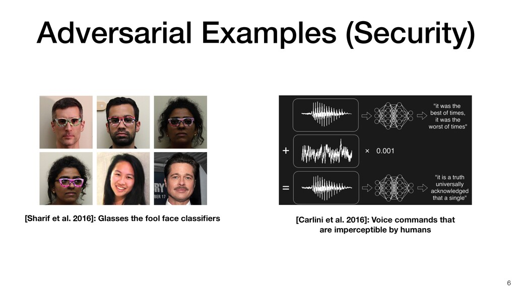 Adversarial Examples (Security) [Sharif et al. ...