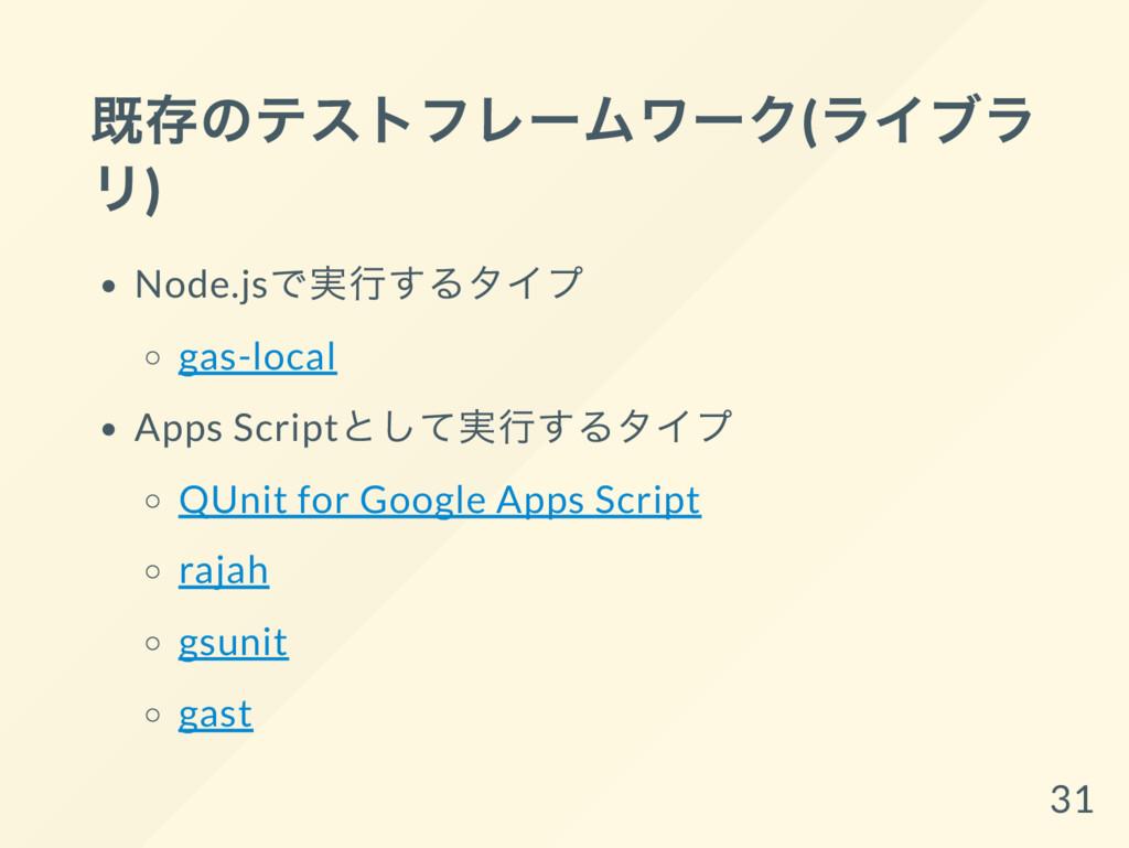 既存のテストフレー ムワー ク( ライブラ リ) Node.js で実行するタイプ gas-l...