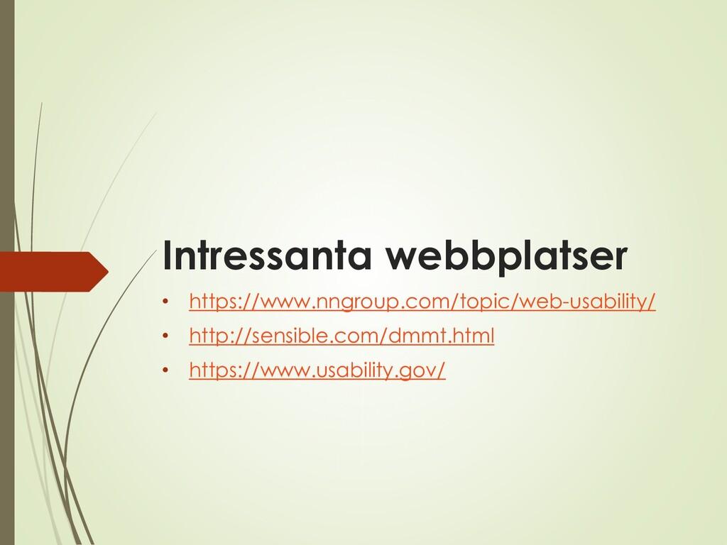 Intressanta webbplatser • https://www.nngroup.c...