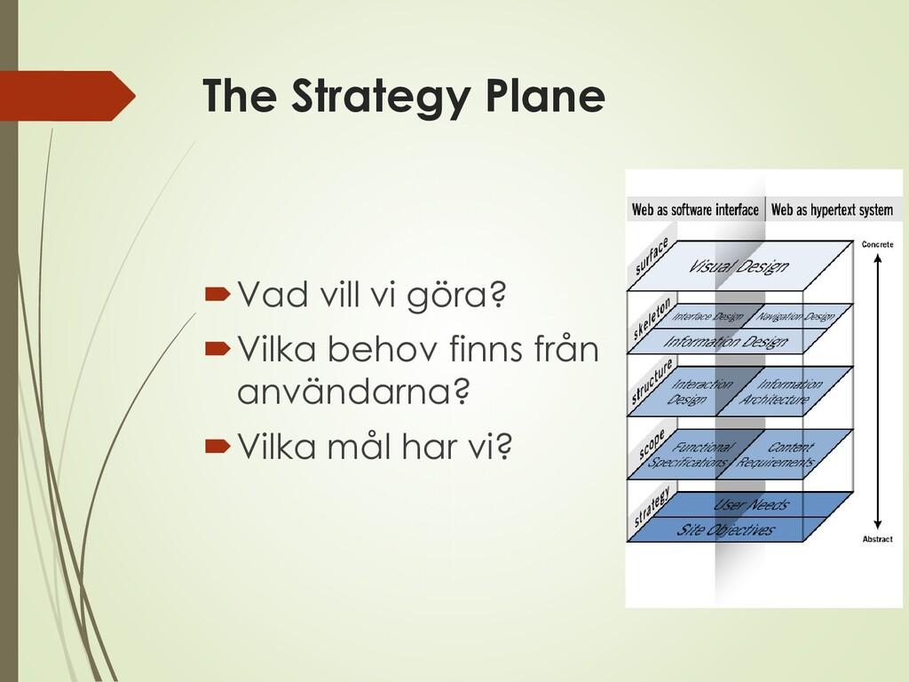The Strategy Plane Vad vill vi göra? Vilka be...