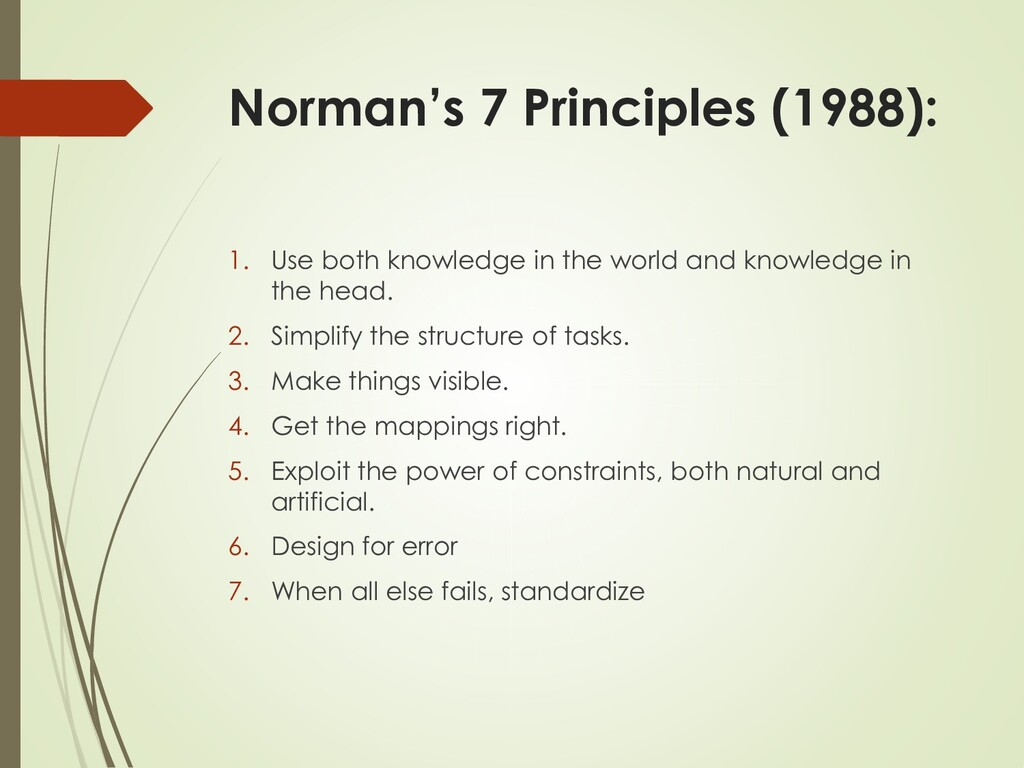 Norman's 7 Principles (1988): 1. Use both knowl...