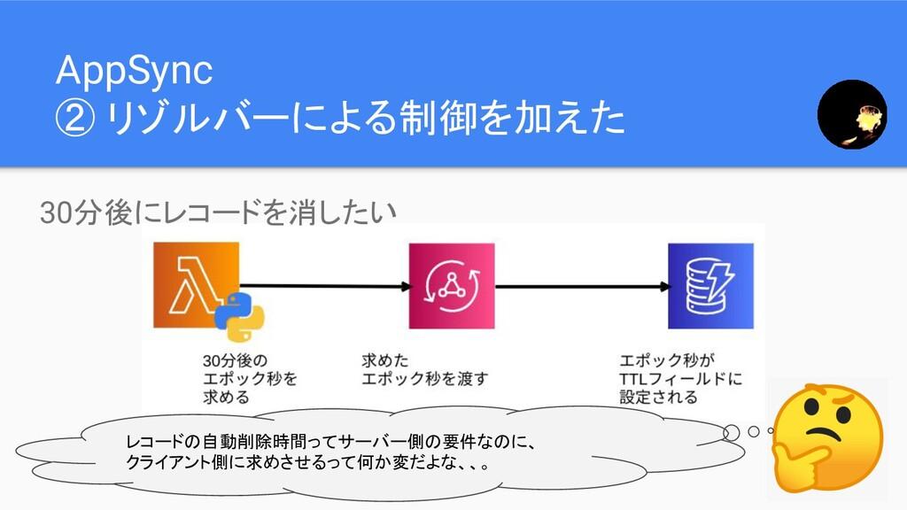 AppSync ② リゾルバーによる制御を加えた レコードの自動削除時間ってサーバー側の要件な...