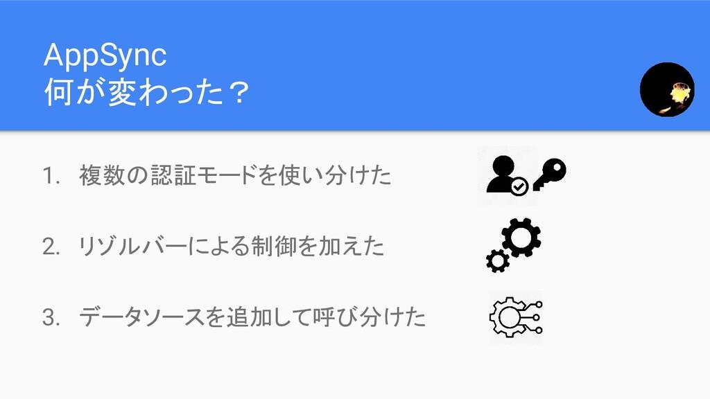 AppSync 何が変わった? 1. 複数の認証モードを使い分けた 2. リゾルバーによる制御...