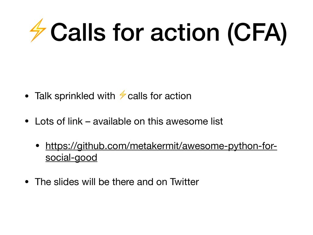 ⚡Calls for action (CFA) • Talk sprinkled with ⚡...