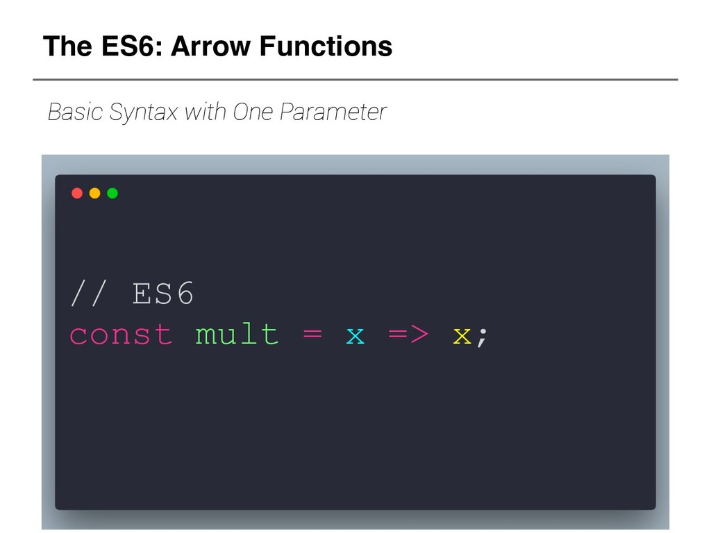 // ES6 const mult = x => x; The ES6: Arrow Func...