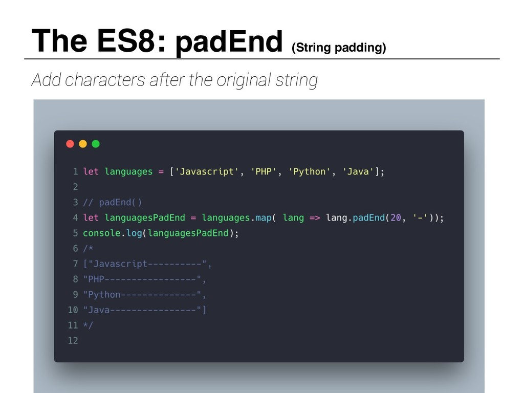 Add characters after the original string The ES...