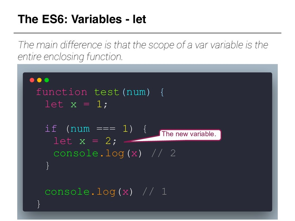 The ES6: Variables - let The main difference is...