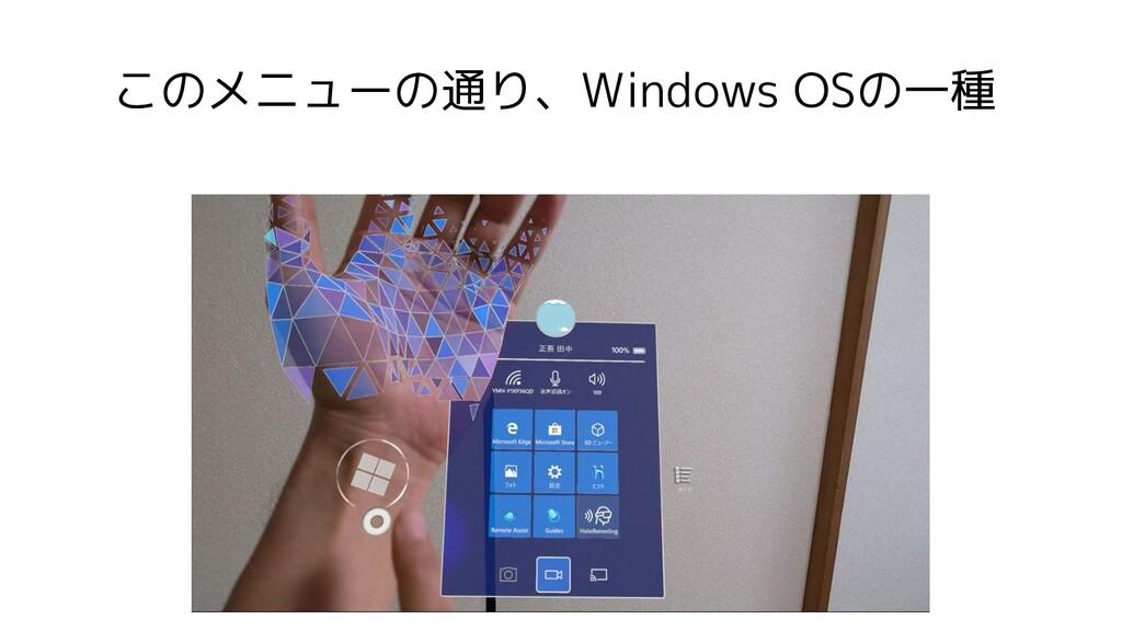 このメニューの通り、Windows OSの一種