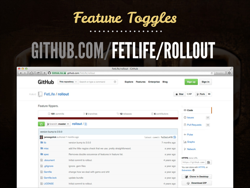 Feature Toggles GITHUB.COM/FETLIFE/ROLLOUT