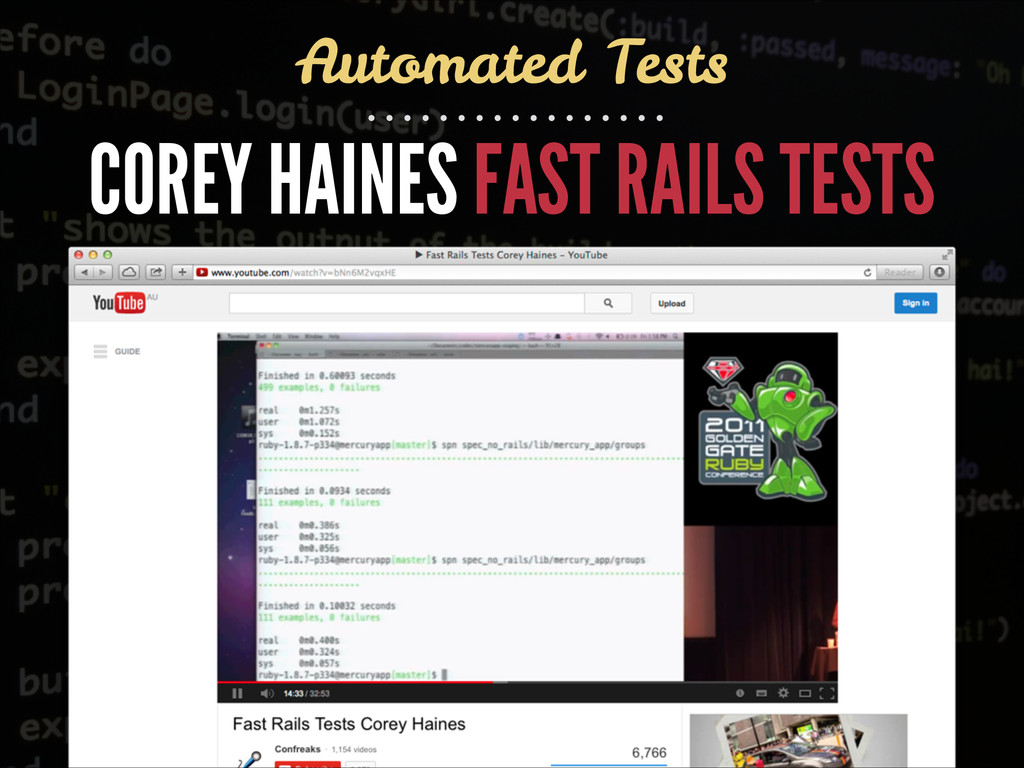 COREY HAINES FAST RAILS TESTS Automated Tests