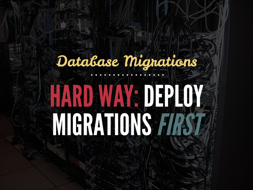 HARD WAY: DEPLOY MIGRATIONS FIRST Database Migr...