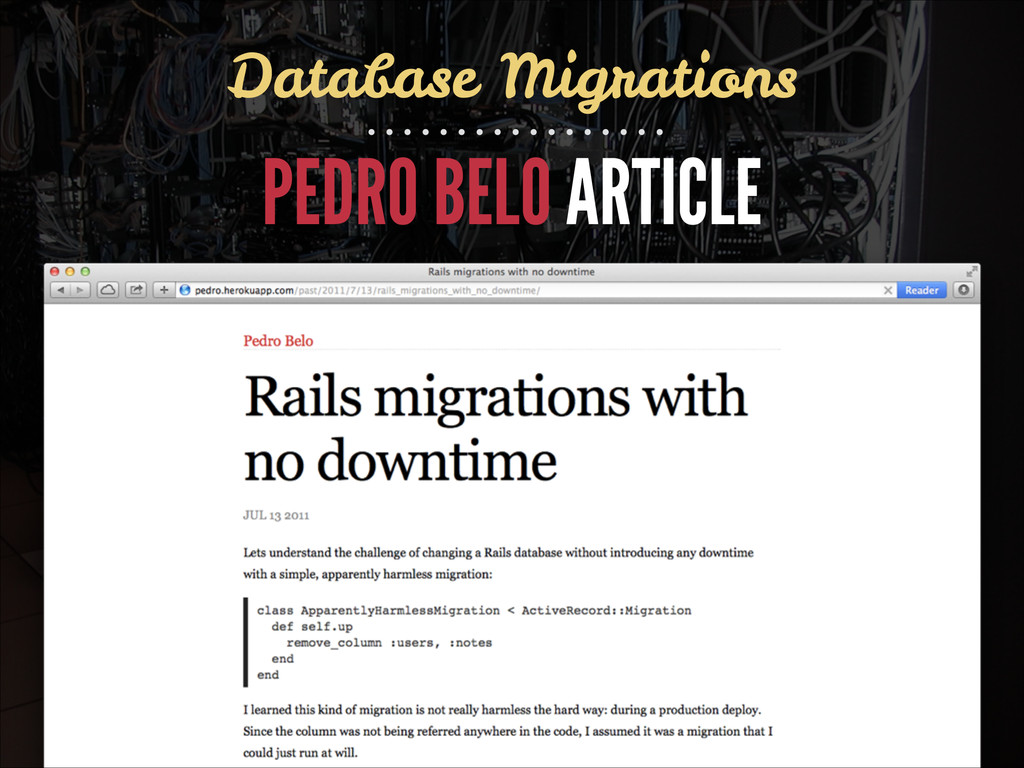 Database Migrations PEDRO BELO ARTICLE