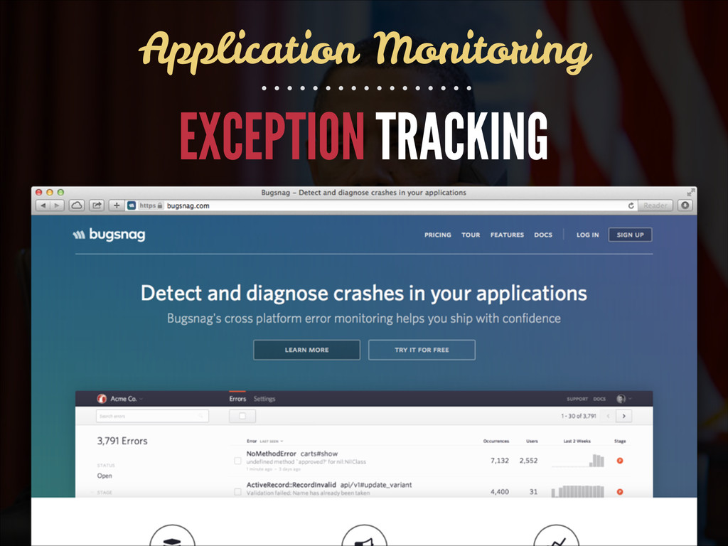 EXCEPTION TRACKING Application Monitoring