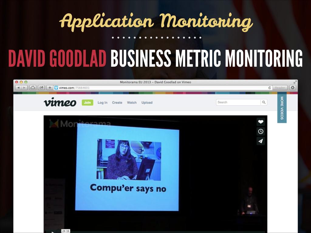 DAVID GOODLAD BUSINESS METRIC MONITORING Applic...