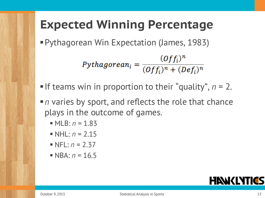 Expected Winning Percentage § Pythagorean Win E...