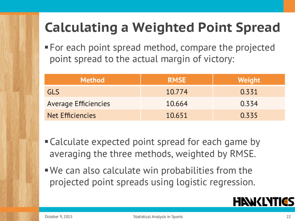 Calculating a Weighted Point Spread § For each ...