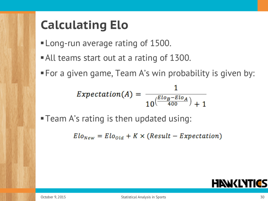 Calculating Elo § Long-run average rating of 15...