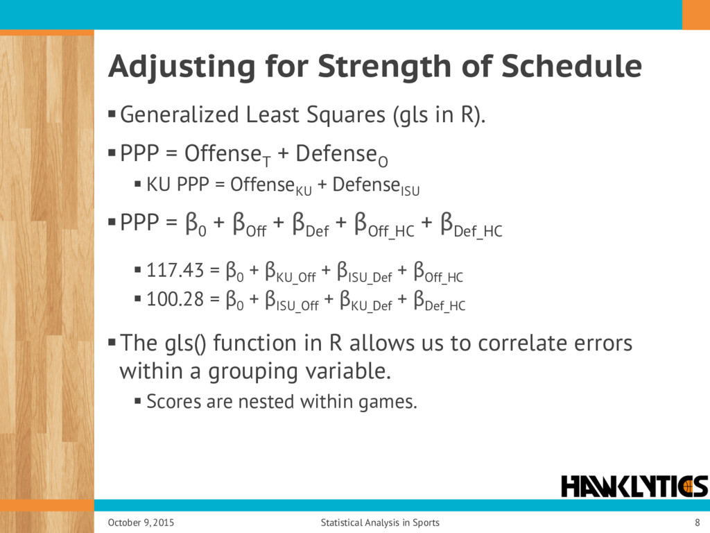 Adjusting for Strength of Schedule § Generalize...